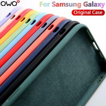 Líquido Original de silicona caso para Samsung Galaxy S8 S9 S10 S20 S21 Plus Nota 20 Ultra 10 9 8 A51 A50 A71 A70 A20 A30 A40 cubierta