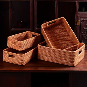 Image 4 - Storage basket DIY Manual Rattan primary color simple portable Miscellaneous food tea practical home kitchen Household items