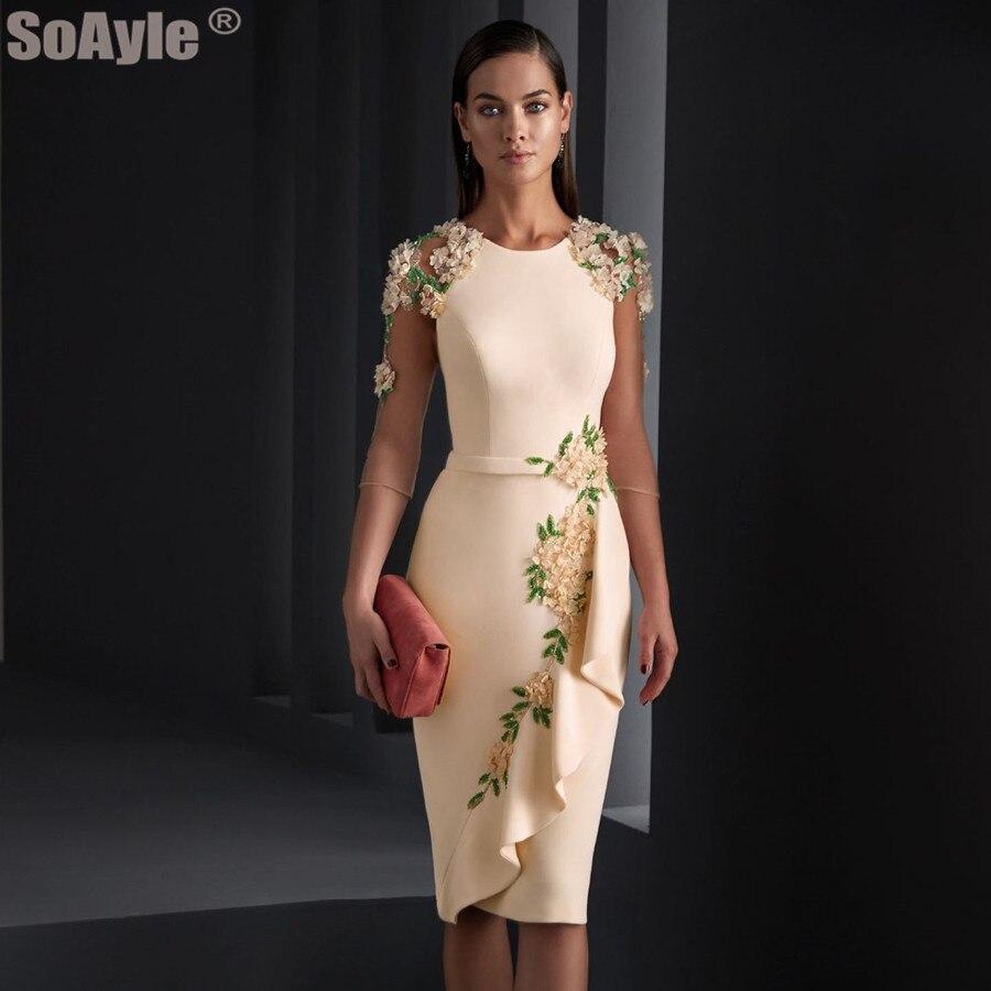 SoAyle Elegant Evening Dress 2020 O-Neckline Pencil Crepe Godmother Evening Dresses Shoulder Beading Flowers Dress