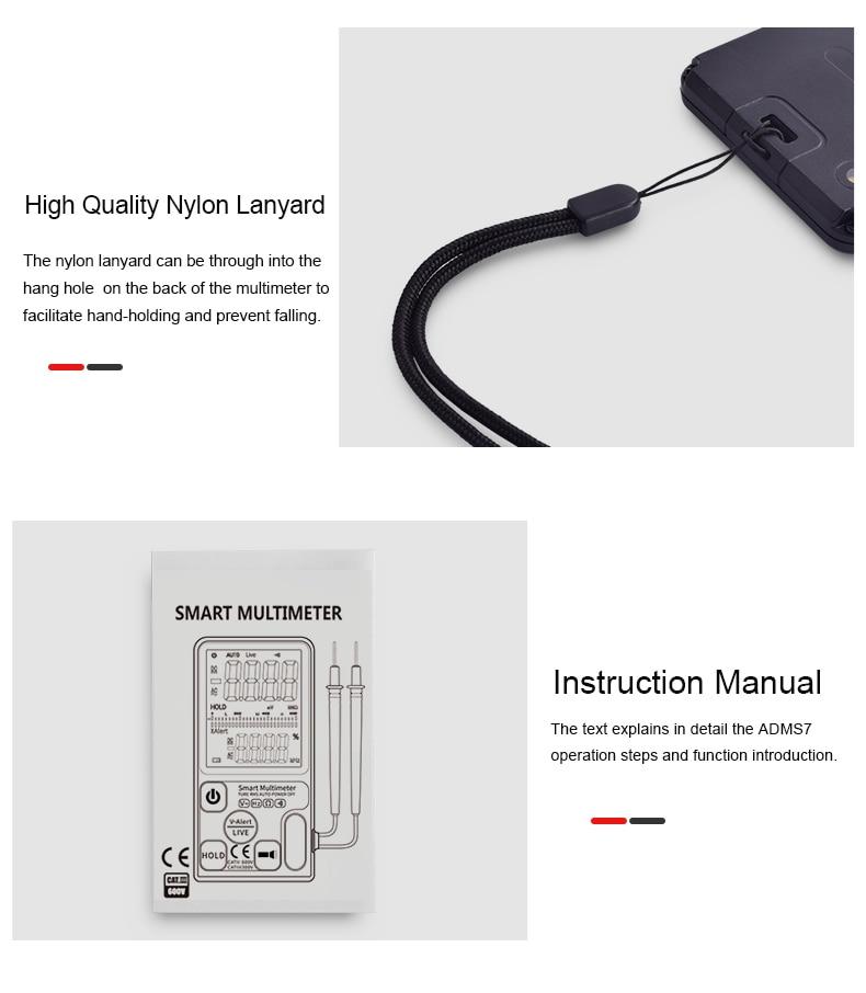 "H55ff2bfbf1ef45c68f27e435edd2356aC Ultra-Portable Digital Multimeter BSIDE ADMS7 S9CL Large 3.5"" LCD 3-Line Display Voltmeter DMM AC DC Voltage NCV Ohm Hz Tester"