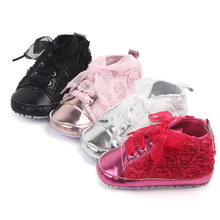 Princess Lace Bows Newboen Baby Shoes Rose Flower Baby Girls Shoes Infant Toddler First Walker Shoes