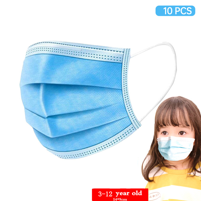 10PCS 3 Layer Disposable Elastic Mouth Soft Breathable Blue Soft Breathable Flu Hygiene Child Kids Face Mask Dropshipping