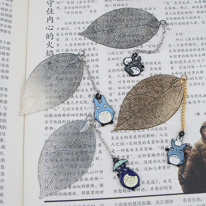 CA780 Totoro 4 Styles Metal Bookmarks For Books Cartoon Leaf Context Chain Bookmarks Office Accessories School Stationery Items