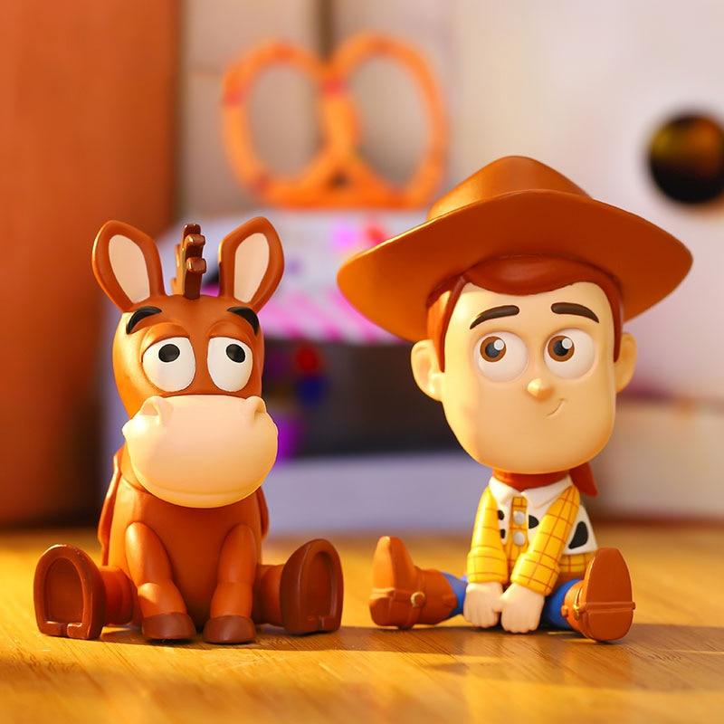 Toy Story 4 caja ciega Woody Bo Peep Rex conejito patito Alien figuras de acción de juguete regalos para la decoración de la habitación de los niños al azar enviar