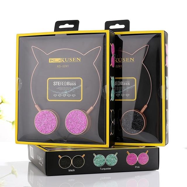 オリジナルパッケージ猫耳マイクかわいい女の子音楽ゲームのヘッドセット 3.5 ミリメートルジャックコンピュータのラップトップ携帯電話