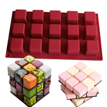 1Pcs Magic Cube Square Silicone Cake Mold Rubiks cube shape Mould Mousse Chocolate Dessert Baking Tools