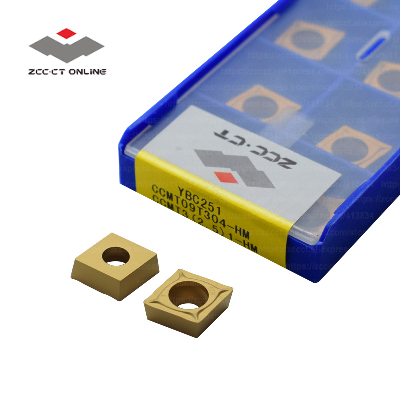 10pcs ZCC Turning Insert CCMT09T304 HM YBC251 CCMT32.51 For Semi-finishing Of Steel Alloy CCMT09 Lathe Cutter