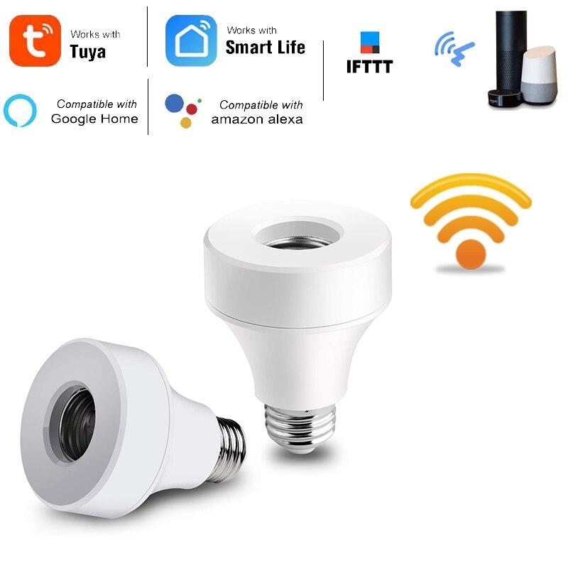 2 pacote wifi soquete de lâmpada inteligente compatível com e26 e27, adaptador de base de lâmpada de wifi trabalhar com alexa/google casa/ifttt, nenhum hub re