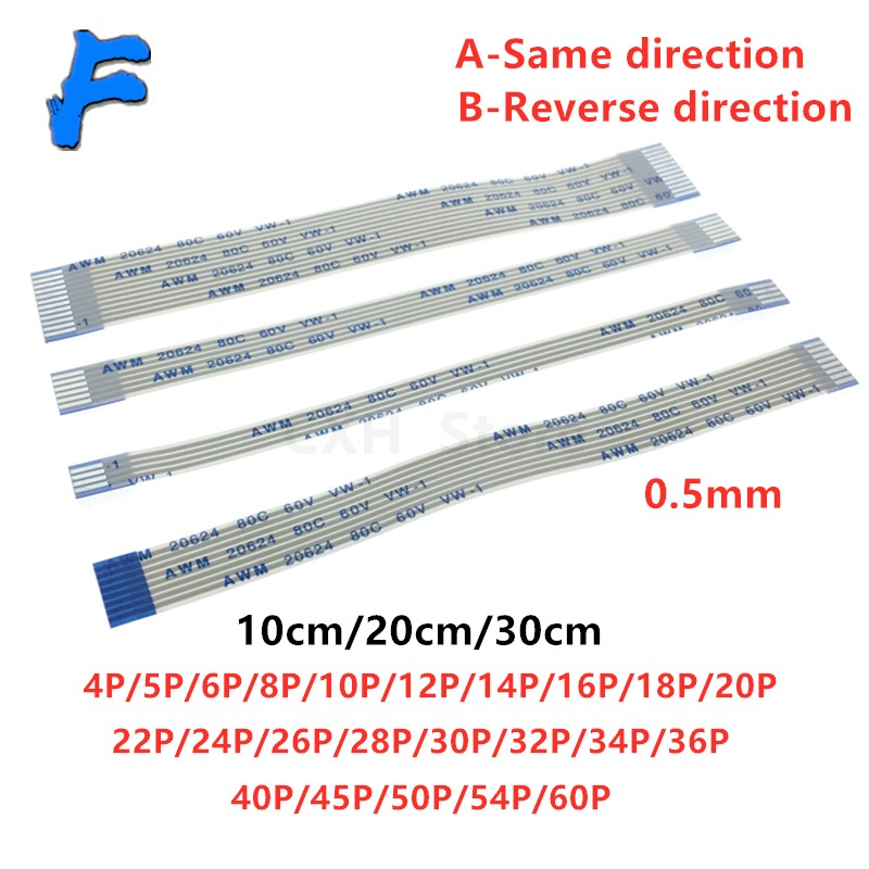 0.5mm 10/20/30cm Type A/B FPC FFC Cable PCB wire connector Same/Reverse 4 5 6 8 10 12 16 18 20 26 28 30 32 36 40 50 54 60 p