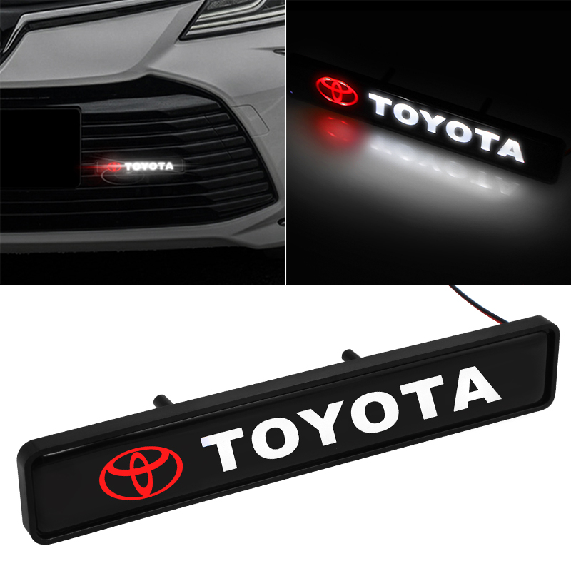1pcs ABS Chrome Front Hood Grille Emblem Badge LED Decorative Lights For Toyotas Corolla Yaris Rav4 Avensis Auris Camry C-hr 86