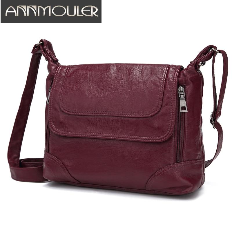Annmouler Brand Women Shoulder Bag Designer Crossbody Bag Soft Washed Leather Messenger Bag Luxury Handbags Women Bags Sac A Mai