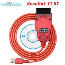 Renolink V1.87 OBD2 dla Renault ECU programista Renolink 1.87 V187 obd2 narzędzie diagnostyczne Auto Airbag Reset klucz kodowania ECM UCH