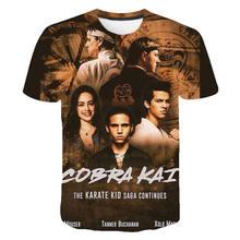Cobra kai verão 3d impresso t camisas casuais das mulheres dos homens crianças moda manga curta menino menina crianças legal streetwear algodão topos