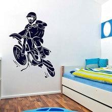 Мотокросс Dirtbike стикер на стену грязный велосипед виниловый для интерьера декор Детская комната для мальчиков профессиональные мотоциклетные наклейки фрески A536