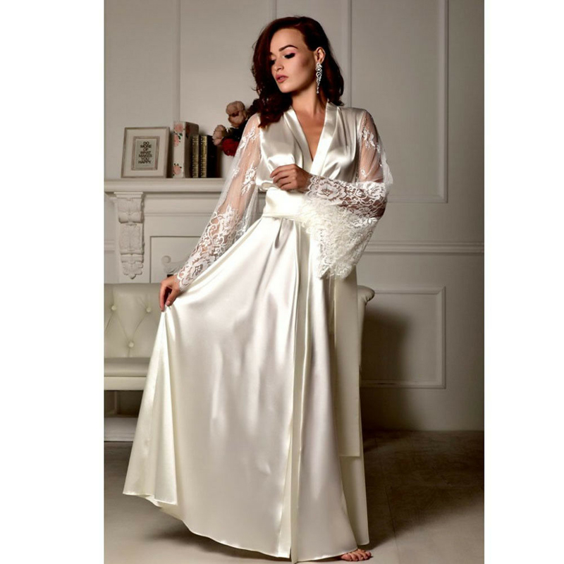 2019 Women Fashion Sexy Lingerie Silk Lace Robe Dress Pajamas Womens Nightdress Nightgown Sleepwear Hot