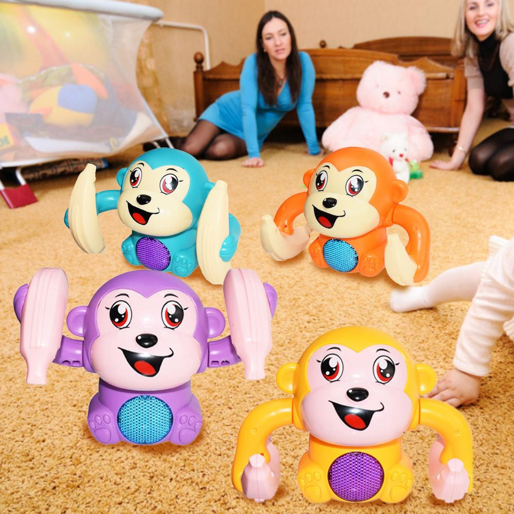 Baby Toy Electric Flipping Monkey Light Music Children Animal Model Toy Voice Control Induction Cartoon Rolling Banana