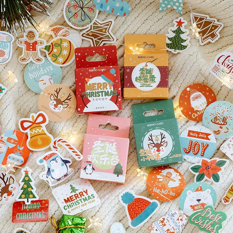 Mohamm 45PCS Christmas Series Kawaii Cute Cartoon Greetings Handbook Decoration Sticker Scrapbooking Girl School Supplies Statio