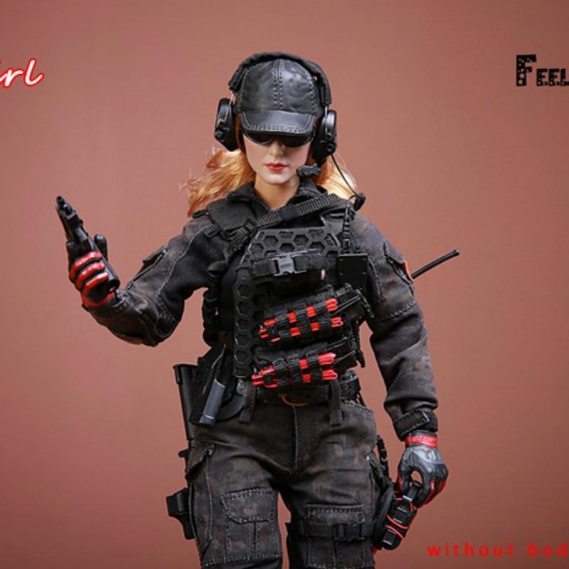 1/6 масштаб битва девушка 1,0 набор экшн фигурка с камуфляжным боевые костюмы тактические перчатки для стрельбы бейсбольная шляпа гетры колле... - 4