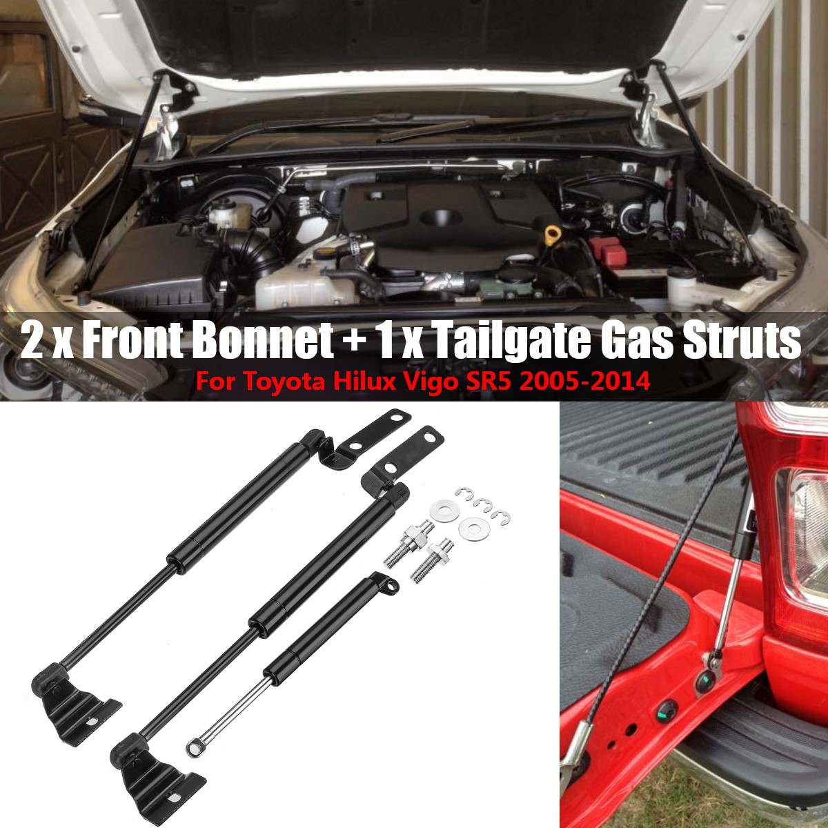 3 adet ön Bonnet + bagaj kapağı gaz lifti desteği Struts Toyota Hilux Vigo için SR5 2005 2006 2007 2008 2009 2010 2011 2012 2013 2014