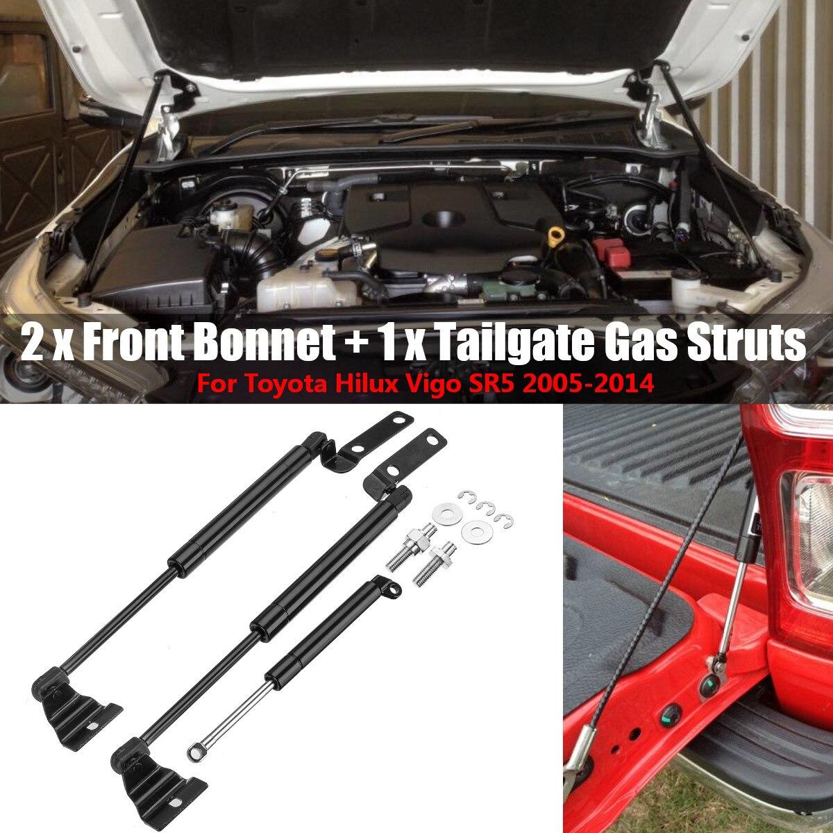3pcs Front Bonnet + Tailgate Gas Lift Support Struts For Toyota Hilux Vigo SR5 2005 2006 2007 2008 2009 2010 2011 2012 2013 2014|Hoods| |  - title=