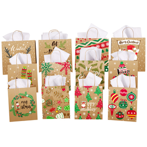 12PCS Christmas Treat Bags Gift Bags Holiday Kraft Paper Candy Favor Goodies Bags for Xmas Party Supplies with 12PCS Gift Tags