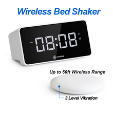 Homtime V2 Virbration Speaker Table Alarm Clock Bed Shaker Deaf USB Charger Large Dimmable LCD Screen NEW Arrival