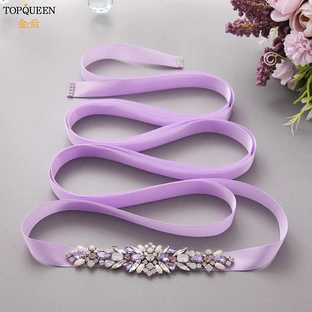 TOPQUEEN Luxury Bridal Wedding Belt Colorful Rhinestone Belt Formal Bridal Jewelry Ladies Diamond Belts  Fast Delivery  S451