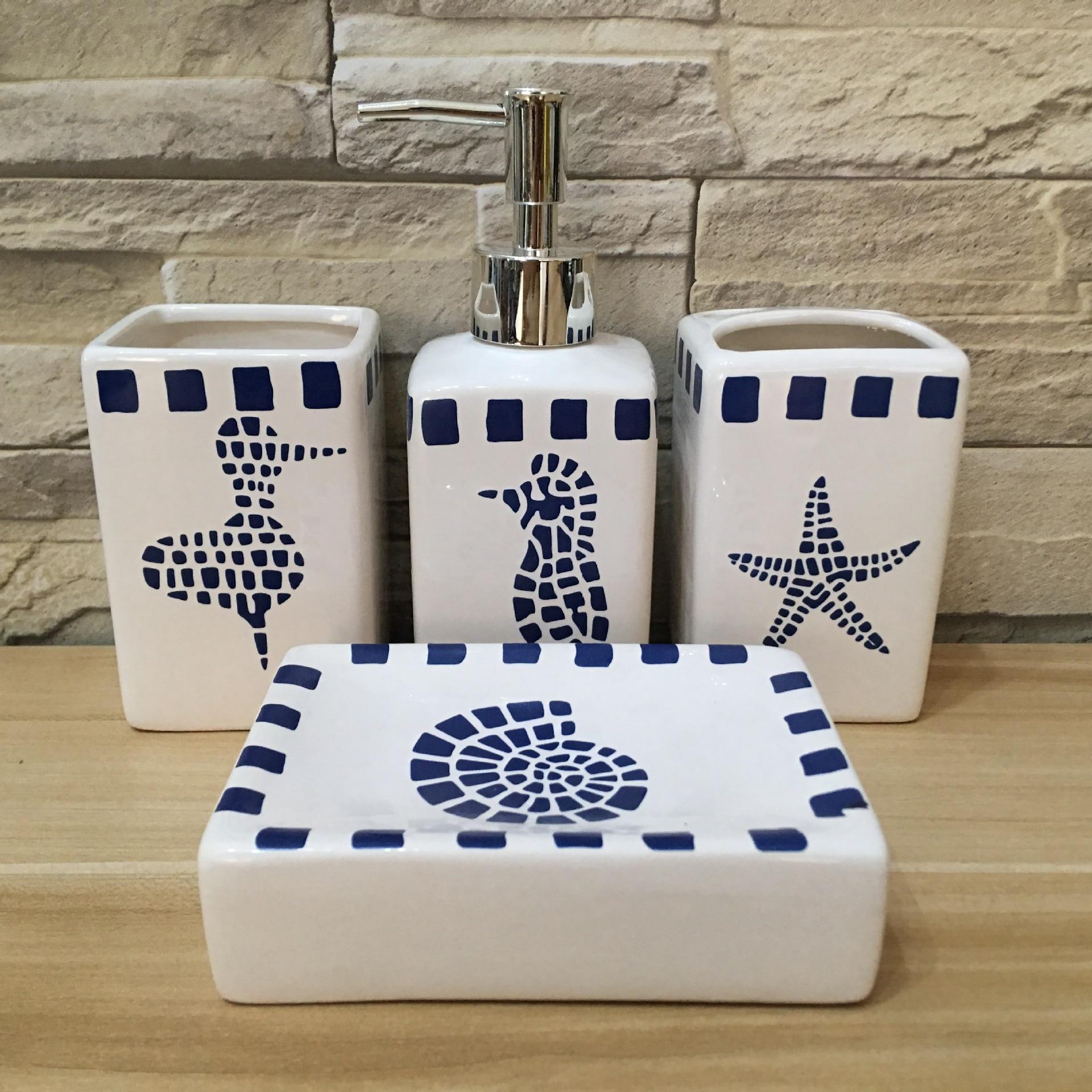 MINIFUN-ensemble d'accessoires de salle de bain | Distributeur de Lotion de savon liquide, porte-brosse à dents, gobelet, plat à savon blanc, 4 pièces