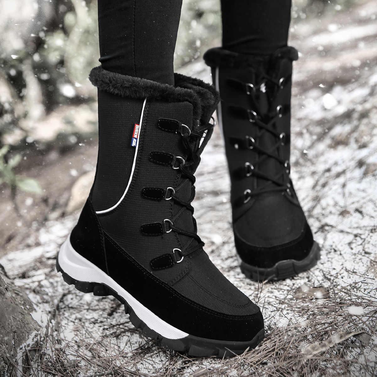 STQ ayak bileği çizmeler kadın ayakkabıları 2020 kış hakiki deri takozlar kar botları kadın dantel-up platformu botları kürk botları bayanlar 1621