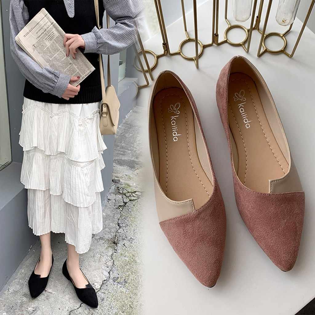 Vrouwen Enkele Schoenen Splice Kleur Flats Mode Wees Teen Ballerina Ballet Platte Slip Op Schoen Herfst En Lente Sexy Single schoenen