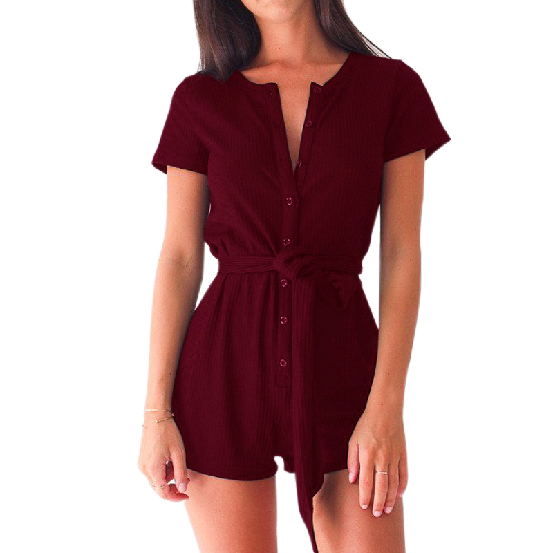 Sexy Playsuits 2020 Casual Bodycon Women Rompers Short Sleeve Solid Beach Buttons Playsuits Overalls with Belts Plus Size GV540