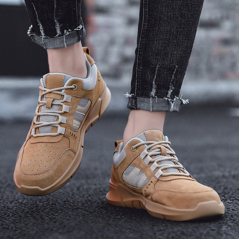 Breathable Sneakers Men Running Shoes Lace-up Comfortable Casual Shoes Men Leather Sport Male Lightweight Anti-slip Krossovky