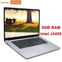 حاسوب محمول 15.6 بوصة 8 جيجا رام 512 جيجا 256 جيجا 128 جيجا SSD حاسوب محمول Intel j3455 رباعي النواة حاسوب محمول Ultrabook مزود بمنفذ RJ45 للمكتب