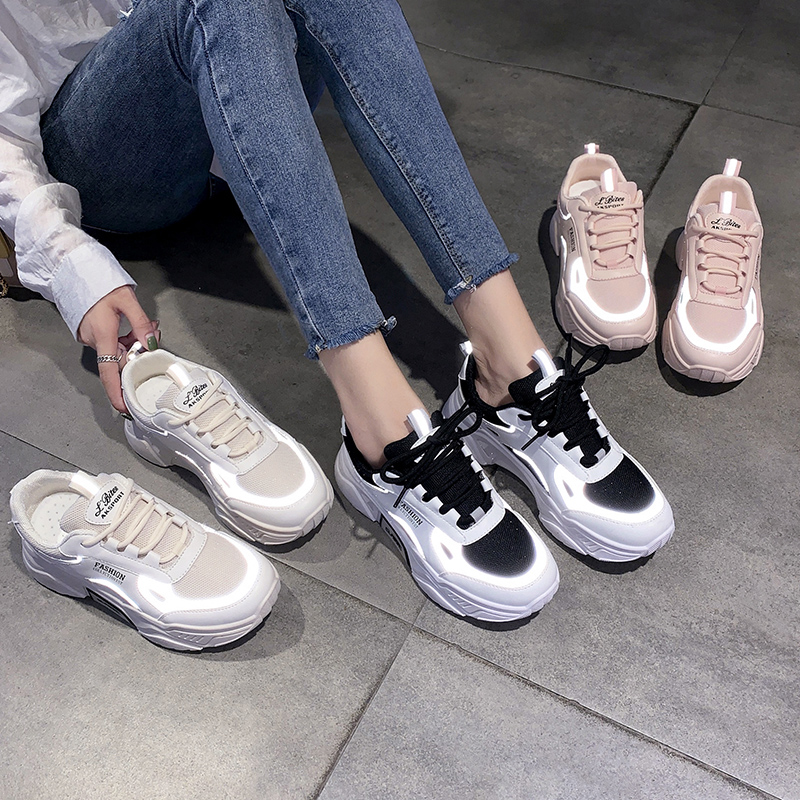 Reflective Womens Platform Sneakers Women Vulcanize Shoes Ladies Chunky Sneakers Women Sneakers Women Flats Sneakers Shoes Woman