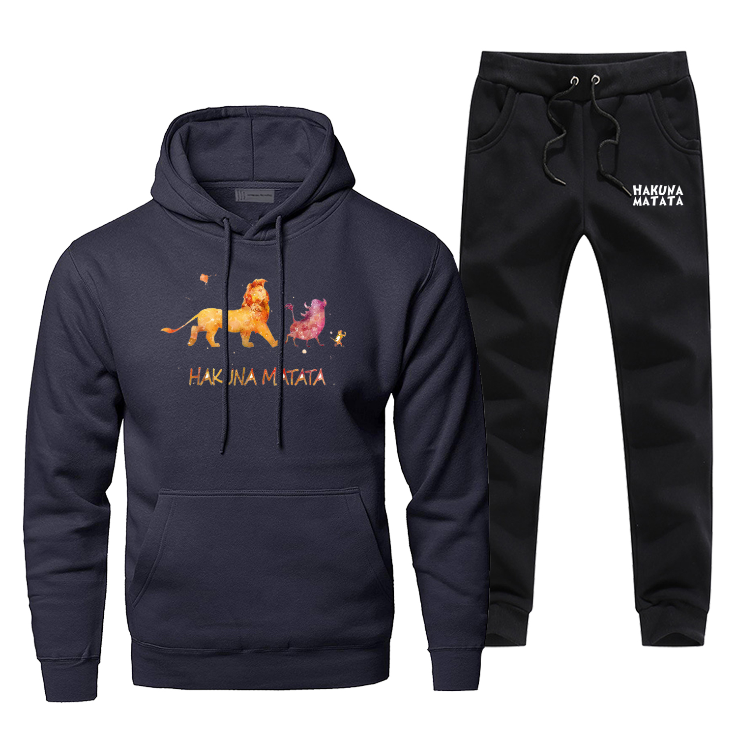 The Lion King Pants Sweatshirt Hakuna Matata Sportsman Wear Fashion Cartoon Casual Sweatpants Fitness Male Set Winter Streetwear