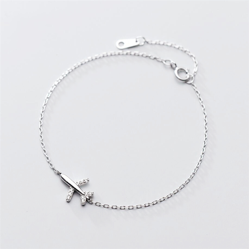 Sole Memory Sweet Cute Mini Plane Literary 925 Sterling Silver Female Resizable Bracelets SBR210