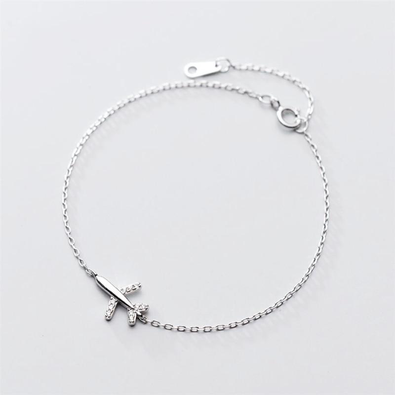 Sole Memory Sweet Cute Mini Plane Literary 925 Sterling Silver Female Resizable Bracelets SBR210