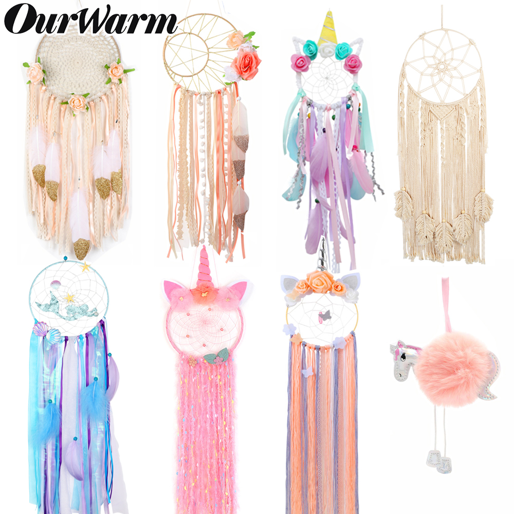 Indian style heart dreamcatcher national feather ornaments with lace ribbons hanging pendant for girl room decor Dreamcatcher(China)