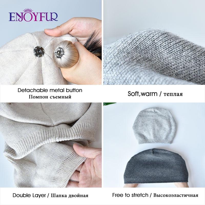ENJOYFUR Winter women real fur pom pom hats wool knitted thick warm lined beanies hat lady fashion bobble ski caps 4