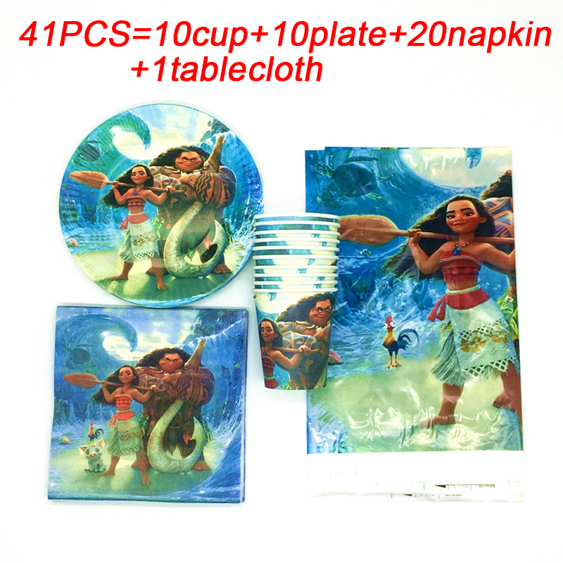 Moana Birthday Party Supplies Kids Disposable Cup Tablecloth Plates Napkins Baby Shower Decorations Favors Cake Dishes Tableware