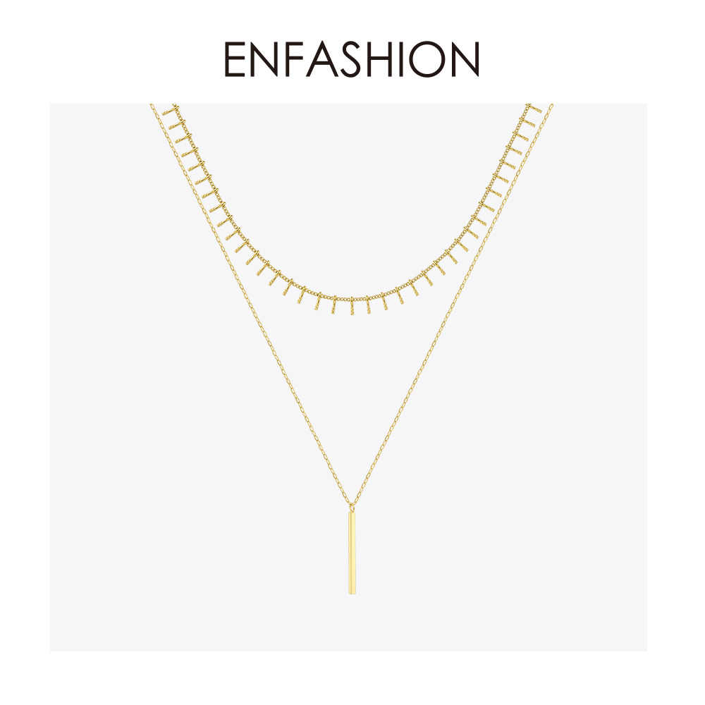 ENFASHION pionowy pasek choker łańcuszek naszyjnik kobiety akcesoria wisiorki ze stali nierdzewnej naszyjniki moda biżuteria Femme P193019