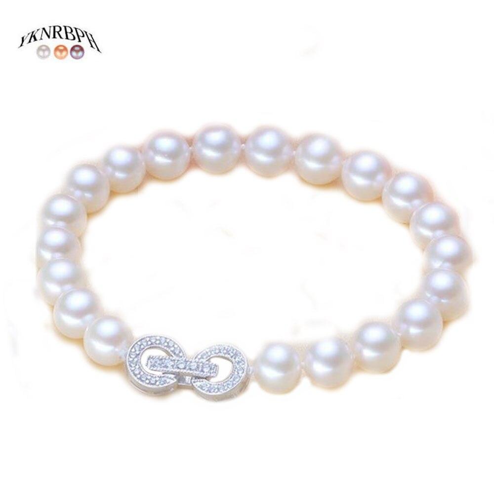 YKNRBPH S925 Sterling Silver Round Pearl Bracelet For Women's Bride Weddings Fine Jewelry Bracelets