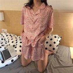 Satin Pajamas Leopard Print Home Clothes for Women  Silk  Loose Sleepwear Sexy Summer Nightie 2020