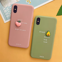 3D lindo aguacate de casos de teléfono para iPhone 11 Pro XS MAX XR X Color caramelo suave de caso para iPhone 7 6 6S 8 Plus(China)