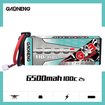 Gaoneng GNB Plus 7.4V 6500mAh 110C 2S Lipo Battery T XT60 XT90 Plug for RC HSP 1/8 1/10 Buggy RC Car Truck Axial Scx10 Crawler