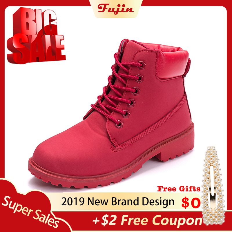 Fujin Winter Shoes Snow-Boots Plush-Sneakers Botas Women Fur Warm Mujer Ankle