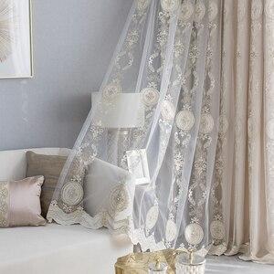 Tul de encaje de lujo francés con bordado de perlas para ventana de gasa, cortina de tela Beige para sala de estar, tela transparente S036 y 40