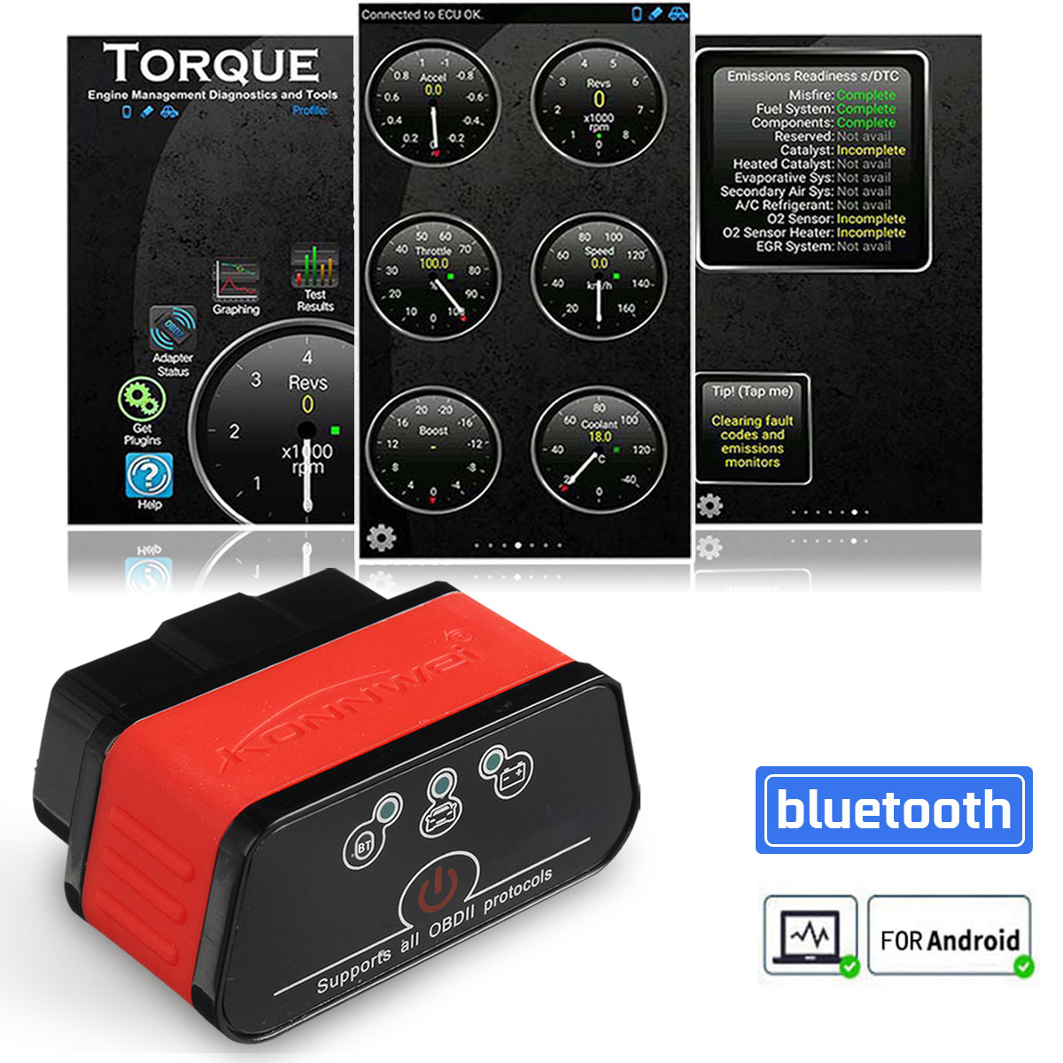 OBD 2 Autoscanner Car Diagnostic Tool for <font><b>ELM327</b></font> ODB2 bluetooth Car2 for ELM 327 V <font><b>1.5</b></font> EML327 OBD2 Scanner Chip 4mhz image