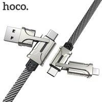 HOCO 4in1 USB نوع C كابل 60 واط المعادن PD سريع شاحن كابل USB C إلى نوع C سلك لسامسونج شاومي iPhone11 ماك بوك برو الهواء باد