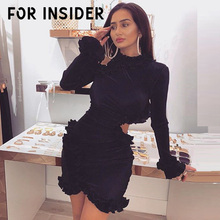 For Insider Knitted ribbed black dress women Off shoulder party club sexy bodycon dresses Hollow out ruffled sleeve dress winter cut out detail shoulder ribbed dress